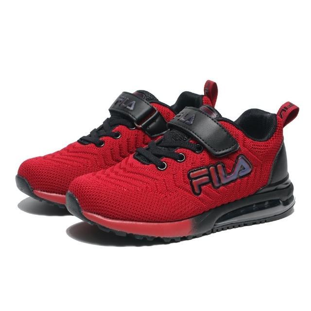 【FILA】童鞋 慢跑鞋 紅黑 網布 氣墊 鬆緊鞋帶 魔鬼氈 中大童(3J406V220)