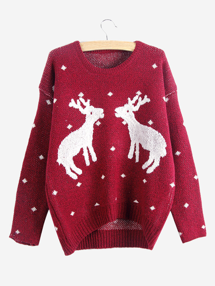 Trendy Women Christmas Cartoon Printed Long Sleeve