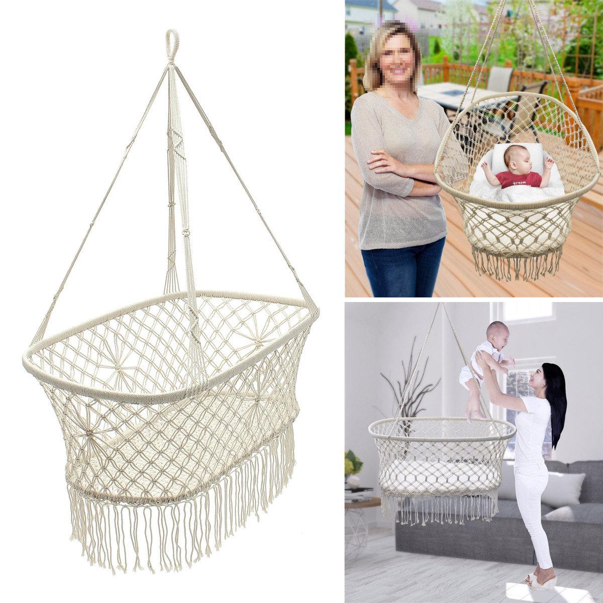 Baby Garden Hanging Hammock Cotton Woven Rope Swing Patio