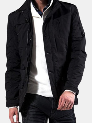Men's Winter Fashion Stand Collar Multi-pocket thicken Medium Style Coat