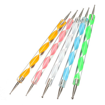 5 Pcs 2 Ways Marbleizing Nail Art Dotting Paint Pen Manicure Tool