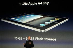 Apple CEO Steve Jobs announces the new iPad.