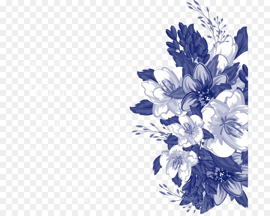 Undangan Pernikahan Desain Bunga Biru Gambar Png