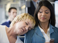 A nap on the train might help fight sleep deprivation, but be aware of your surroundings.
