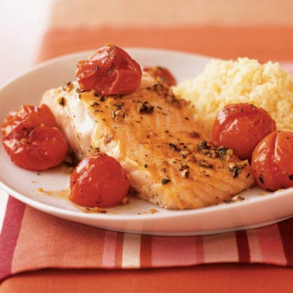 Salmon with Roasted Cherry Tomatoes Recipe