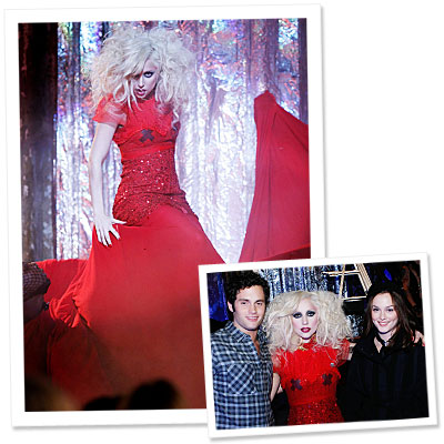 Lady Gaga  -Gossip Girl - red dress