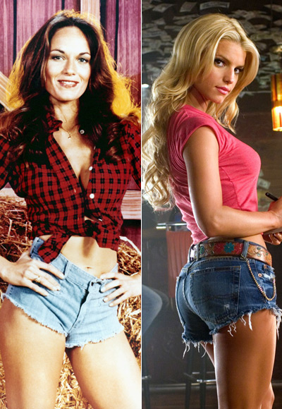 Catherine Bach and Jessica Simpson in The Dukes of Hazzard, 1979 and 2005