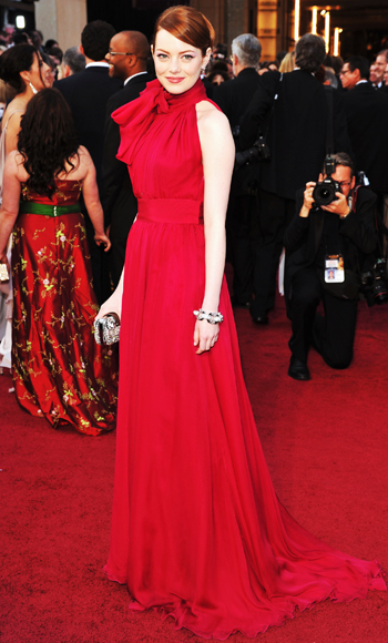 Emma Stone red dress on the red carpet