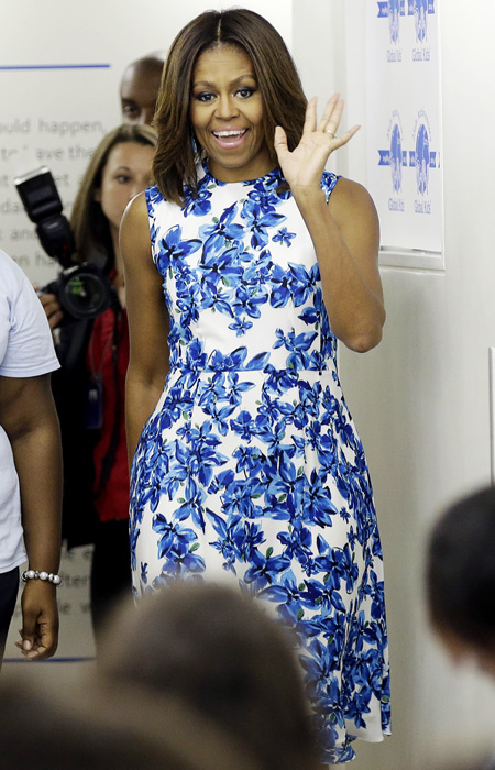 Michelle Obama in blue and white summer dress