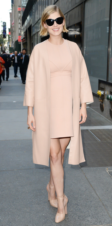 Rosamund Pike in Louis Vuitton and Marni