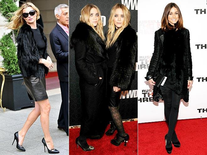 FUZZY BLACK COATS photo | Ashley Olsen, Kate Moss, Mary-Kate Olsen, Olivia Palermo