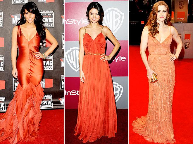 BURNT ORANGE DRESSES photo | Amy Adams, Kim Kardashian, Selena Gomez