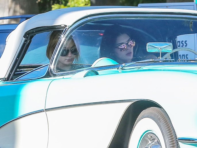 Kendall Jenner Drives Vintage Chevrolet with Hailey Baldwin in Beverly Hills