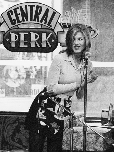 Central Perk, willed into reality by thousands of Friends fans, actually occupied a corner of SoHo in New York City from Sept. to Oct. 2014, as part of a collaboration between Warner Bros. and Eight O'Clock Coffee.