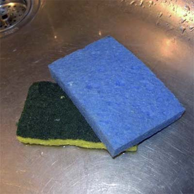 used sponges resting at the bottom of a steel sink
