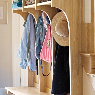 mudroom with storage compartments