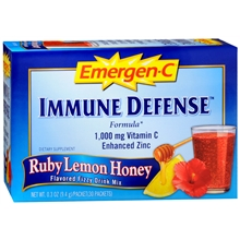 IMMUNE DEFENSE 1,000 mg Vitamin C Enhanced Zinc Flavored Fizzy Drink Mix 30 Pack, Ruby Lemon Honey