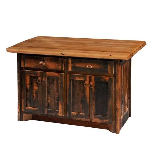 Fireside Lodge Reclaimed Barnwood Kitchen Island Formica Top