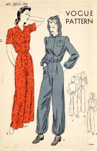 1940s Rosie the Riveter all-in-one hooded boiler suit pattern - Vogue 8852