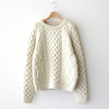 HAND KNITTED CABLE KNIT PULLOVER #OFF WHITE [A62002] _ HARVESTY   ハーベスティ