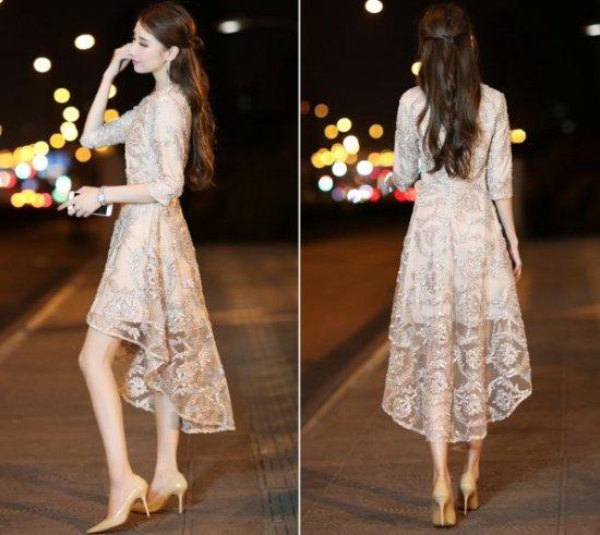 韓国ワンピースドレス フィッシュテール ブラック