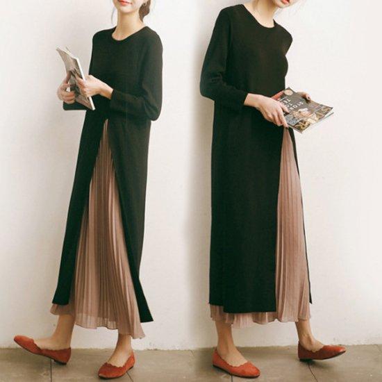 韓国 ワンピース ドレス プリーツ フォーマル 大きなスリット