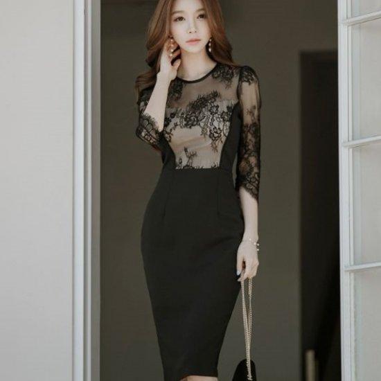 韓国ワンピース 黒 ドレス お呼ばれや結婚式二次会に、タイトセクシーなブラックシースルーワンピ