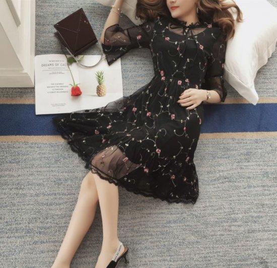 パーティドレス 小花柄 シースルー 袖フレア