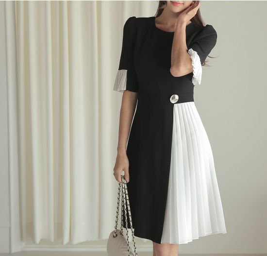 韓国 ワンピース フォーマル ドレス プリーツ 清楚上品