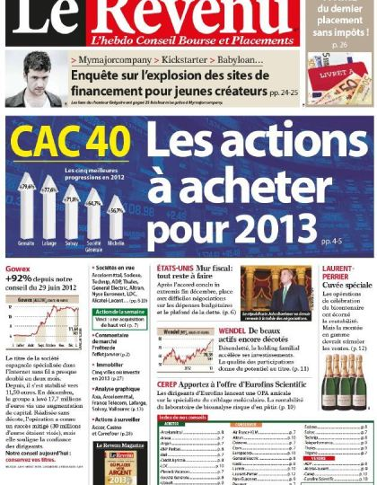 Le Revenu Hebdo Bourse N°1208 du 11 au 17 Janvier 2013