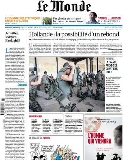 Le Monde du Mercredi 16 Janvier 2013