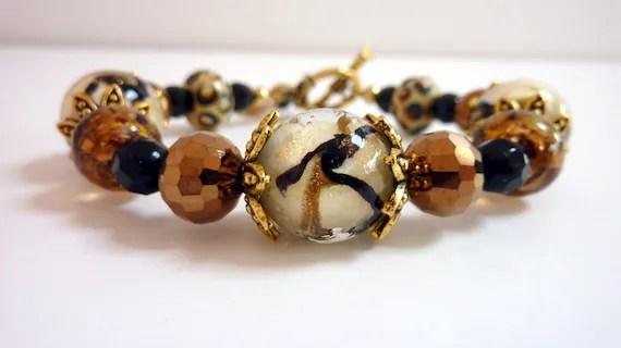 Cream Gold Bracelet, Copper Black Cream Swirl Glass Beaded Bracelet,  Anitique Gold, Earthtone Colors, Amber Lampwork Bracelet
