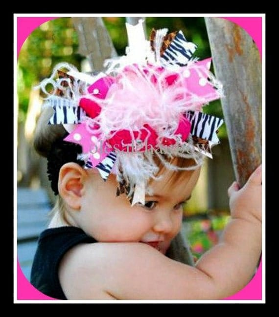 Large Ostrich Feather Hot Pink Zebra Leopard Hairbow Girls Bow Rhinestones with Crochet Headband NEW