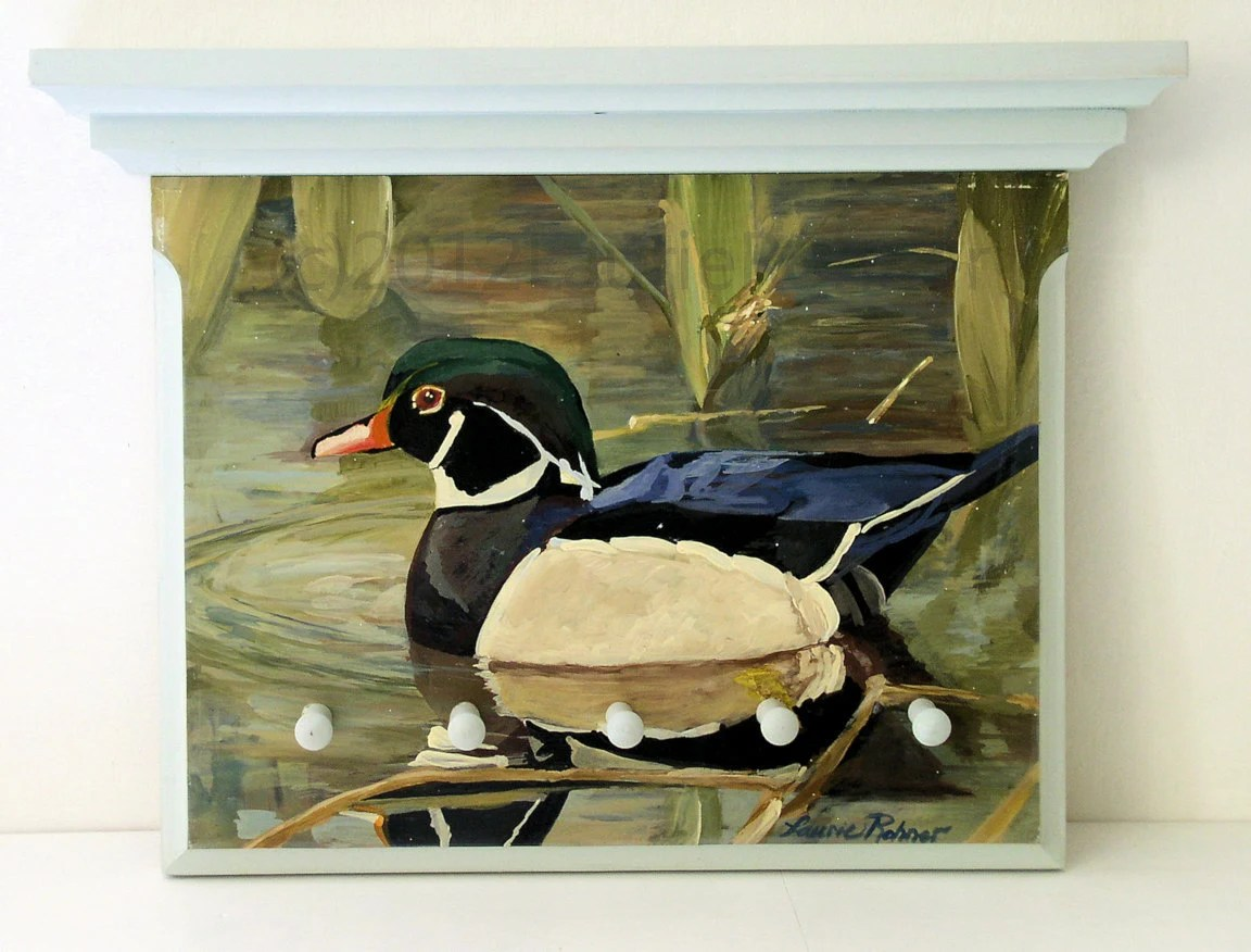 Dog Leash Peg Board with Shelf Wood Duck Landscape