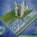 Vista aérea Torre de cultivos. Imágen cortesía de Vincent Callebaut Architecture