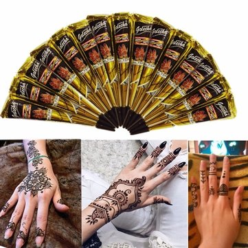 3pcs black natural herbal henna cone temporary tattoo body art tattoos hair loss at banggood