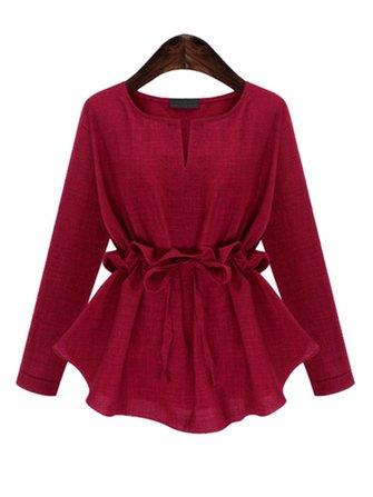 Robe en coton casual femmes manches longues taille mince chemise irrégulière