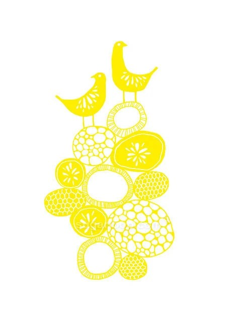 Lemon Yellow Citrus Birds - Signed Giclee Art Print (A4 Paper Size) - sugarloop