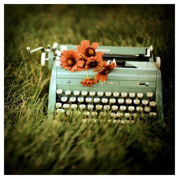 Vintage Typewriter - Flower Photograph - Writer - Loveletters- Original Signed Fine Art Photograph - AliciaBock