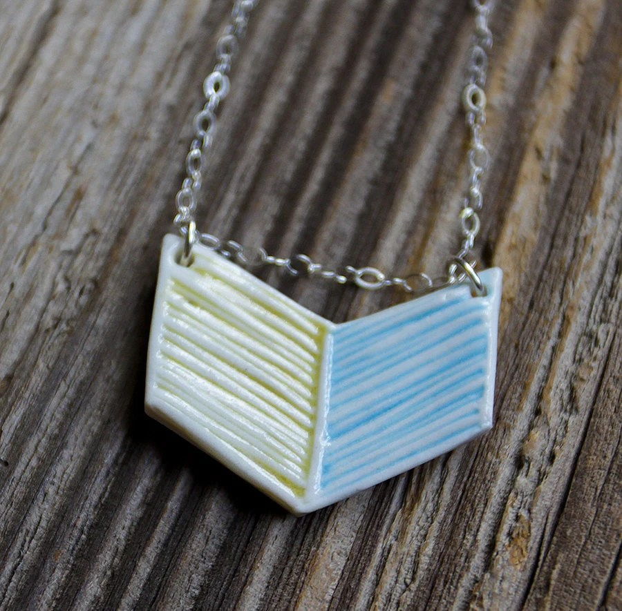Yellow and Blue Porcelain Simple Chevron Necklace - Handmade Pottery - tashamckelvey