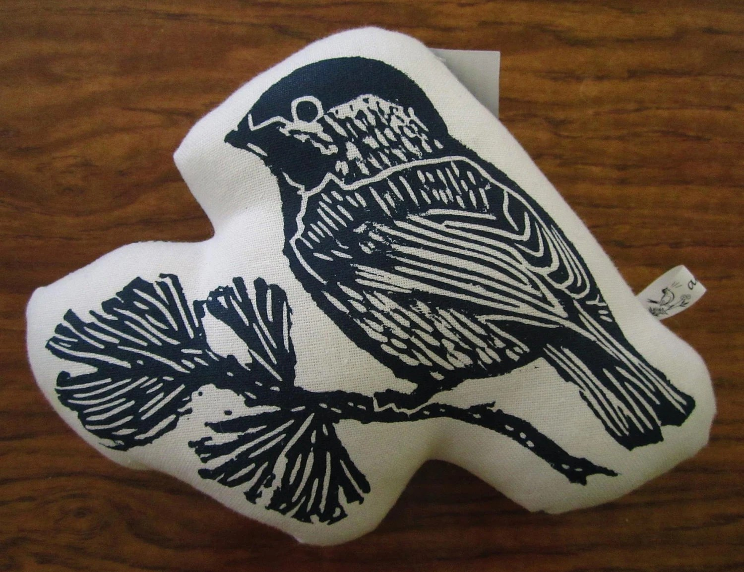 block print chickadee stuffie - artgoodies