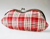 Eyeglass case - red white plaid - oktak