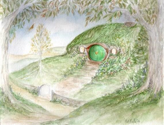 Bag End - Original painting of Hobbit Hole - darklingwoods