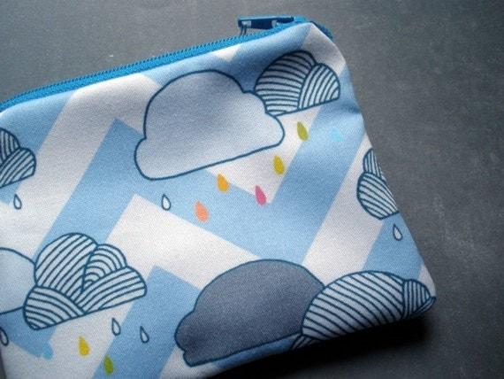 Chevron Stripe Rain Drops Coinpurse in Organic Cotton - PocketCarnival