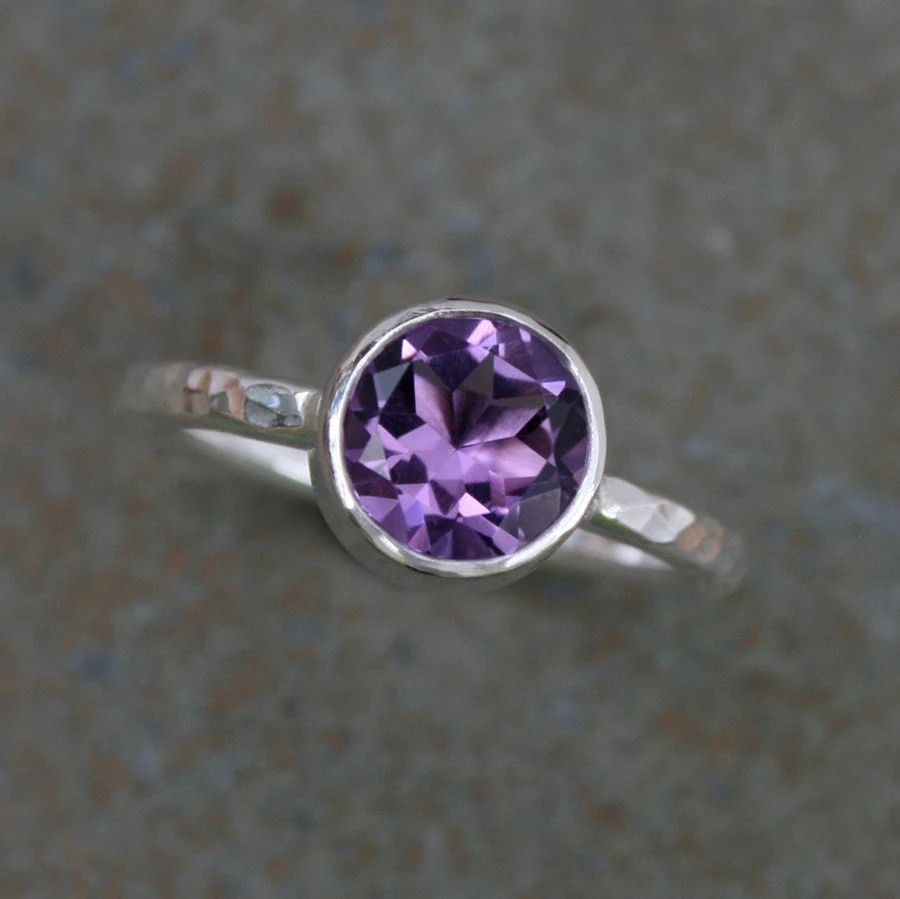 Purple Amethyst Ring, Sterling Silver, Faceted Gemstone, Violet Jewel, Sterling Silver Hammered Ring Band, Wear Single or Stacking