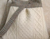 Ivory Cable Knit and Plaid BELLA Purse, Upcycled Wool Handbag