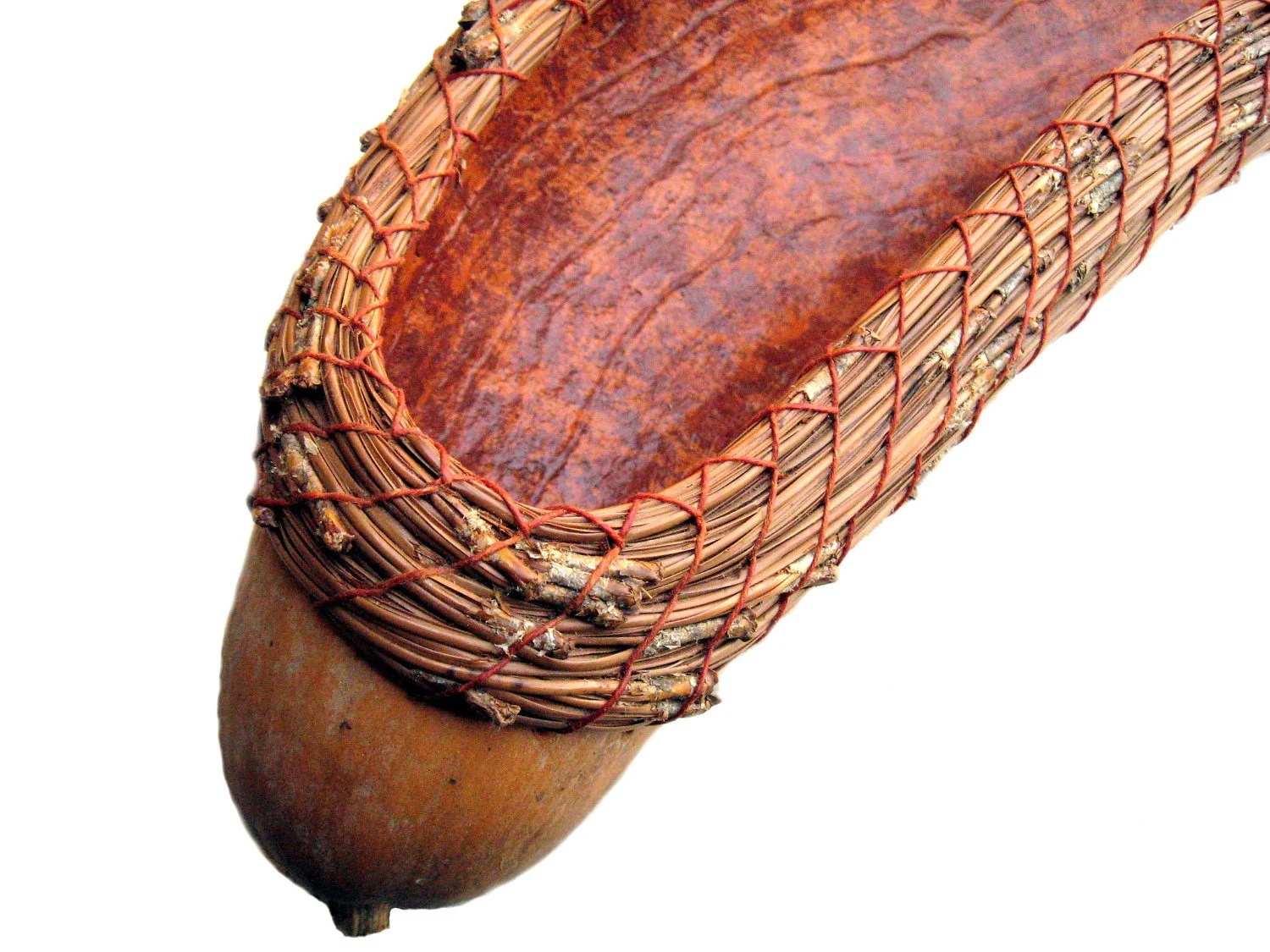 French Bread Basket Coiled Gourd Natural Brown Terracotta Earth Tones Unusual Practical - midnightcoiler