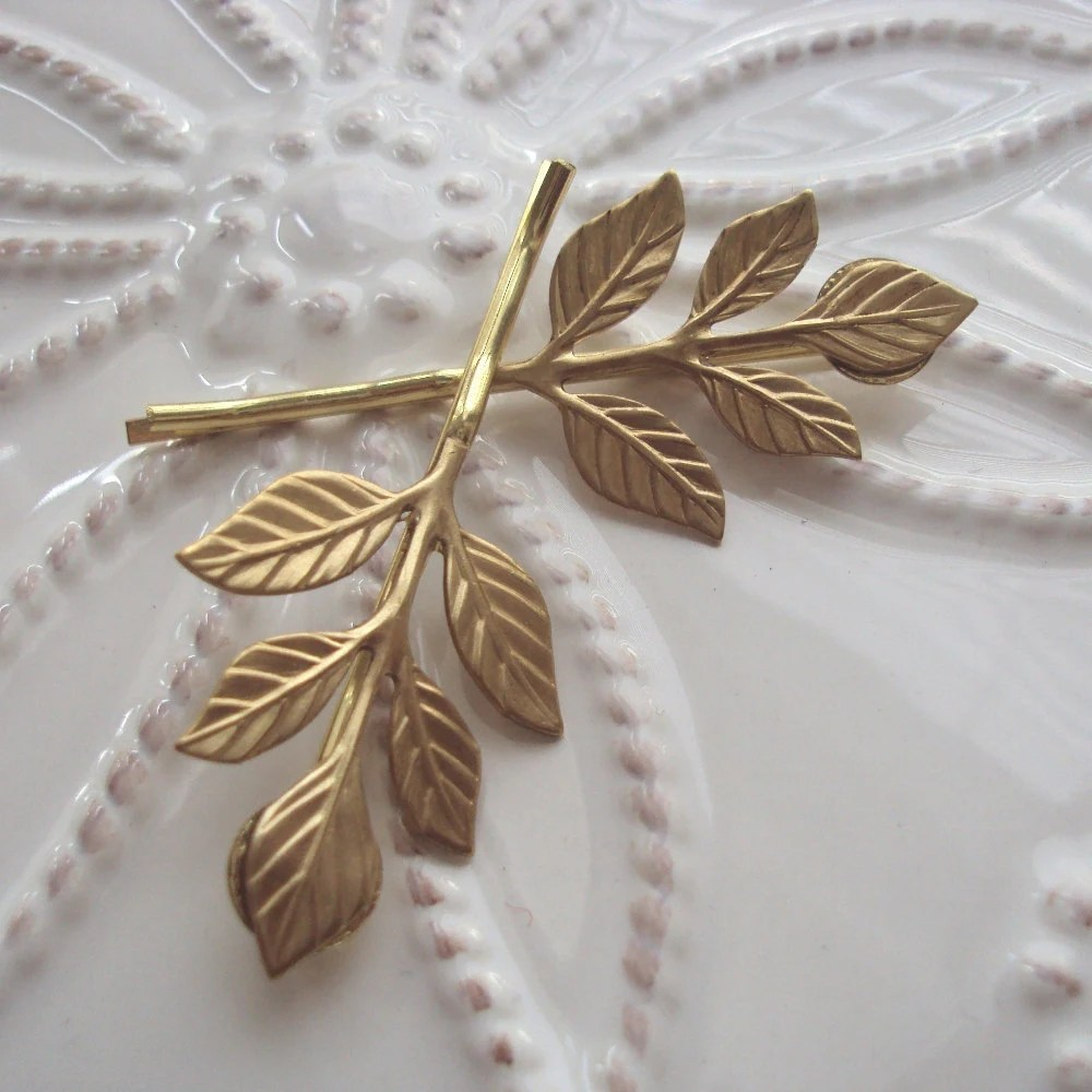 Golden Leaf Bobby Pin Duet - BijouxByAllison