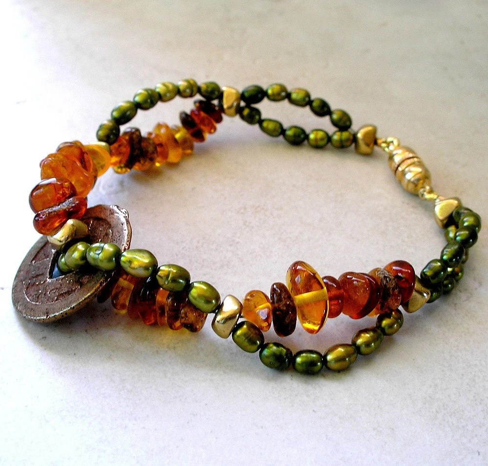 Ancient Coin Bracelet with Pearls and Baltic Amber - Foret