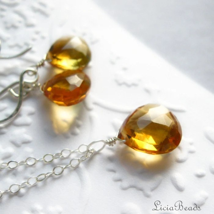 November Birthstone, Citrine gemstone briolettes, sterling silver earring and necklace set